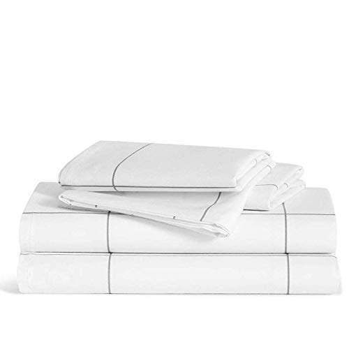Brooklinen Luxe Core Sheet Set – Includes 1 Flat Sheet, 1 Fitted Sheet + 2 Pillowcases – 480 Thread Count Sateen Sheet Set – 100 Percent Long-Staple Cotton – Oeko-TEX Certified – Windowpane – Twin XL
