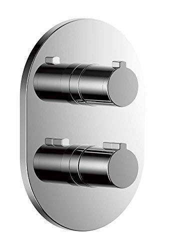 Clever 60745 Rubinetto doccia termostatico per incasso 2-3 vie Nine Round, cromato