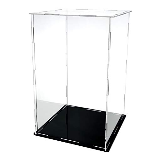 LANSCOERY Clear Acrylic Display Case Assemble Countertop Box Cube Organizer Stand Dustproof Protection Showcase for Action Figures Toys Collectibles (8x8x12 inch; 20x20x30cm)