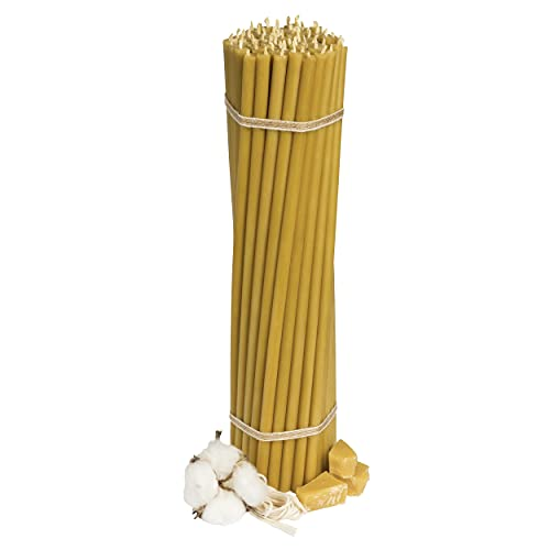 Diveevo Athos Pack of 75 Beeswax Thin Candles Church Quality 29.5 cm N30