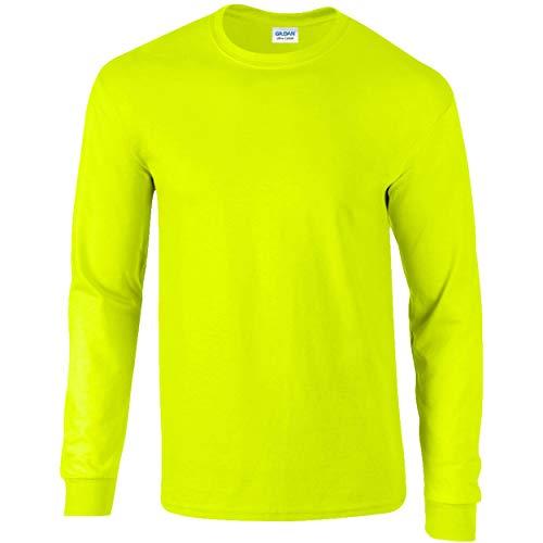 Gildan - Camiseta básica de Manga Larga para Hombre- 22 Colores Diferentes (Pequeña (S)) (Verde Fluorescente)