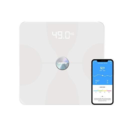 Leaone Bluetooth Body Fat Scale Usb Rechargeable Smart Digital Bathroom Weight Scale Body Composition Analyzer With Ios & Android App for Body Weight, Fat, Water, Bmi, Bmr & Muscle Mass, White, 1 Lb