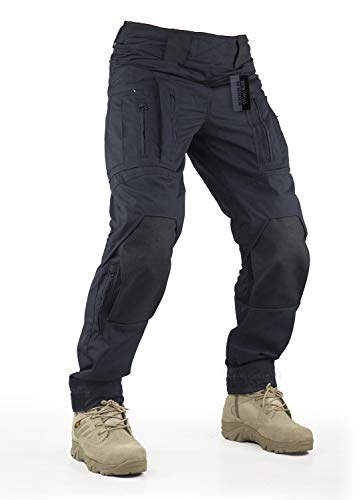 Survival Tactical Gear Pants with Knee Pads Hunting Paintball Airsoft BDU Military Camo Combat Trousers for Men (Black, XL)