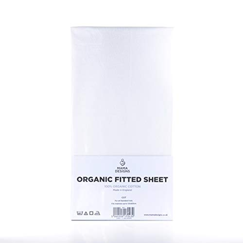 Mama Designs Sábana bajera de algodón orgánico (blanco, cuna 140x70cm)