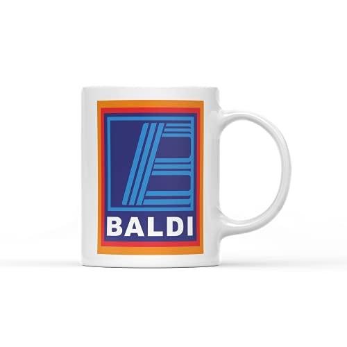 White Handle Baldi Mug - Funny Novelty Supermarket Bald Mens Hilarious Cup Coffee Tea Dads (White Prime)