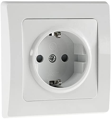 DELPHI Steckdose 230V Schutzkontakt-Steckdose mit erhöhtem Berührungsschutz Unterputz Installation Weiß