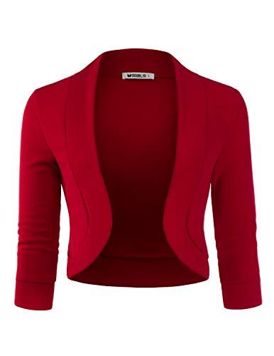 Doublju Womens 3/4 Sleeve Bolero Open Front Cardigan with Plus Size RED 1X