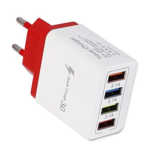 Caricabatterie 4 porte USB Caricatore colorato Caricabatterie da viaggio Caricabatterie a induzione Caricabatterie rapido USB per cellulare Adattatore per telefono - Rosso