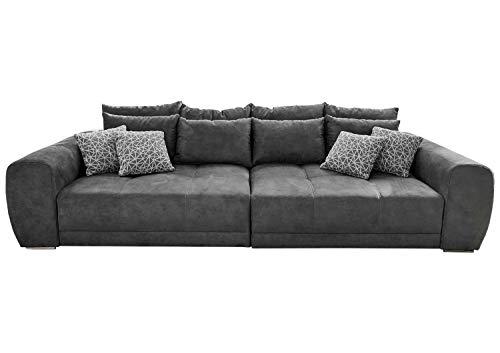 Big-Sofa XXL-Couch Wohnzimmercouch   Dunkelgrau   Microfaser   BxHxT: 306x83x134 cm