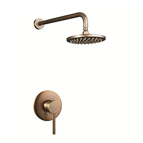 Wieoc douchesysteem antiek 100% messing vintage oud 8 inch ronde regendouche hoofd + 400Mm muur arm set met mixer tikken verborgen badkamer set Handvat