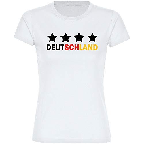 T-Shirt Deutschland mit Vier Sterne auf der Brust Trikot Damen weiß Gr. S-2XL - Fanshirt Fanartikel Fanshop Trikot Fußball EM WM Germany,Größe:M