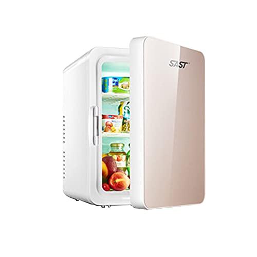 LHY Refrigerador de 12L para Dormitorio de Estudiantes, Sistema de Caja de calefacción y refrigeración, cosméticos, Coche, hogar, refrigeración de Doble Uso, preservación,Oro