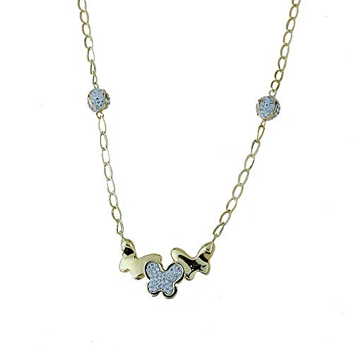 18kt white and yellow gold necklace 750/1000 A chain with butterflies and white zircons for women