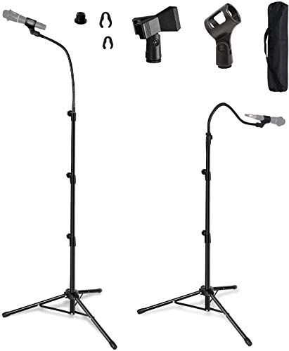 Microphone Stand, Microphone Tripod Adjustable Height up to 6 Feet Gooseneck Mic Stand Tripod Microphone Boom Stand with 2 Standard Mic Clips