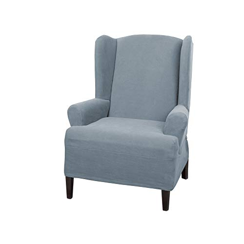MAYTEX Pixel Ultra Soft Stretch Wing Back Arm Furniture Cover 1 Piece Steel Blue Chair Slipcover
