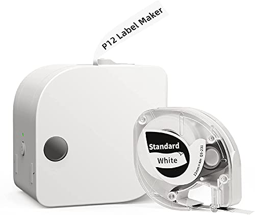 Phomemo P12 Label Maker Machine with Tape, Bluetooth Label Maker Support Multiple-Material Labels,Label Maker with Different Fonts for Home & Office Organization, with 1 Pack 0.47' Label Tape