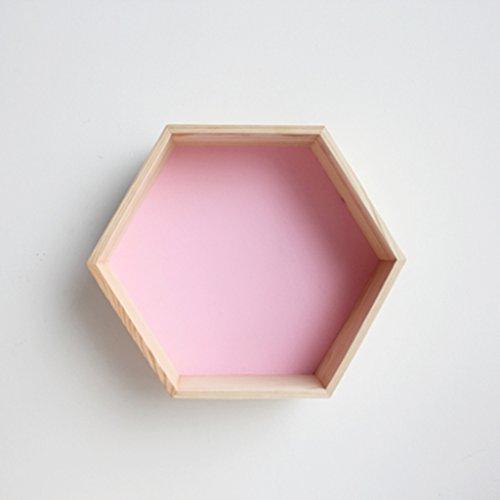 HCJZWJ JCRNJSB® Regale, sechseckiges Bienenwaben-Regal-kreative Gitter-feste hölzerne Wand 30 * 35 * 18cm Kann abnehmbar aufbewahrt werden Regal Regal Büc (Farbe : #1)