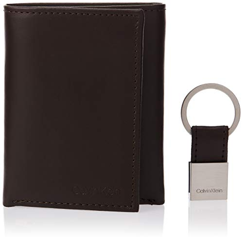 Calvin Klein Men's Leather Tri-Fold Wallet, Brown, One Size