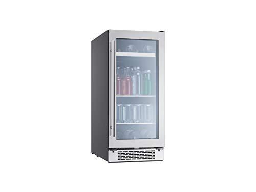 Zephyr PRB15C01BG Presrv 15 Inch Single Zone Beverage Cooler with Glass Door, 3.4 cu/ft, Built-In and Freestanding, Compact Bar Fridge, Full Size Beverage Center, Reversible Door, ENERGY STAR