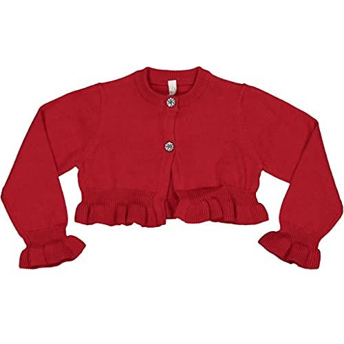 Birba Bolero de tela para niña, de lana, para niña, 0 – 36 meses, suave, chic y especial, rojo, 9 Meses
