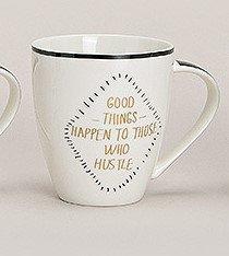 Jumbobecher Black & Gold Gold weiß schwarz Sprüche Becher Kaffeebecher Henkel Kaffeetasse Teetasse Porzellan Porzellanbecher Porzelantasse (Good Things Happen.)