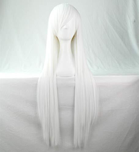 Perücke 80cm Schwarz Black Blond Braun Weiß Rot Damen Adults Lange Perücke Wig Synthetische Frauen Women Haar für Cosplay Halloween Karneval Carnival Kostenlos Perückenkappe + Hair Clip