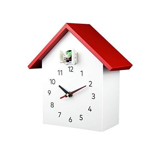 MILECN Kuckucksuhr Weiß Fenster-Wand-Taktgeber-Wand Art Home Wohnzimmer Küche Bürodekor Dekoration,Rot