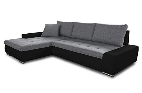 Ecksofa mit Schlaffunktion Faris - Couch mit Bettkasten, Big Sofa, Sofagarnitur, Couchgarniitur, Polsterecke, Bett (Schwarz + Grau (Madryt 1100 + Inari 91), Ecksofa Links)