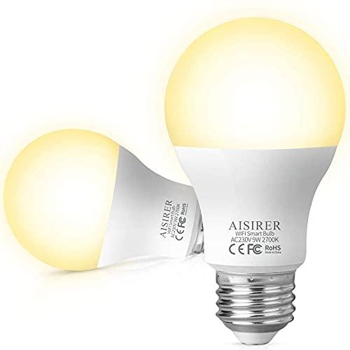 AISIRER Ampoule Connectee Alexa Ampoule WIFI LED Intelligente 9W 806LM Compatible avec Amazon Alexa Echo, Google Home, E27 Dimmable Lumière Chaude 2700K, Aucun Hub Requis (2 Pack)