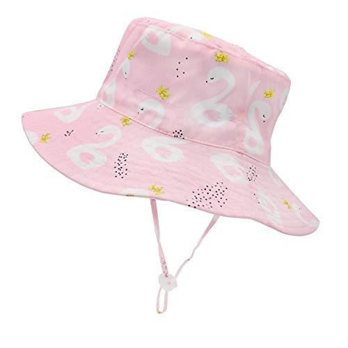 "Sarfel Baby Girl Sun Hat Baby Bucket Hats UPF50+ Summer Beach Hats for Baby Girls Toddler Kids Caps Swan 18.9""(48cm)/6-12 Months"