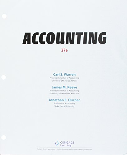 Bundle: Accounting, Loose-leaf Version, 27th + CengageNOWv2, 2 terms Printed Access Card