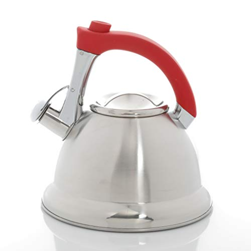 Mr. Coffee Collinsbrook 2.4 Quart Stainless Steel Whistling Tea Kettle, Silver/Red