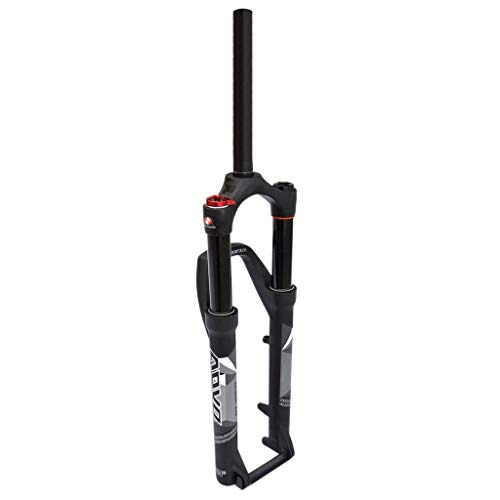 TYYT Bike Front Fork 26/27.5/29 Inch, 1-1/8' Straight Air Shock Absorber, Travel: 120mm, Black (Color : Manual Lockout, Size : 27.5 inches)