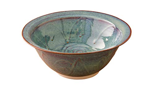 "Medium Serving Bowl Hand-Thrown Hand-Glazed in Ireland. Measures 10"" Diameter 3.5' Height with Traditional Celtic Spiral Motif"