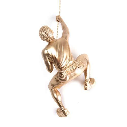 Estilo Industrial Decoración de Pared Resina Colgante Escalada Hombre Montaje Escalador Colgante Escultura Figuras Estatua Retro Regalo Decoración para el hogar, Mano Derecha, Oro