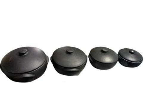 Conjunto 4 Panelas de Barro Capixaba Para Arroz e Moqueca capacidade 1, 2, 3 e 4 litros