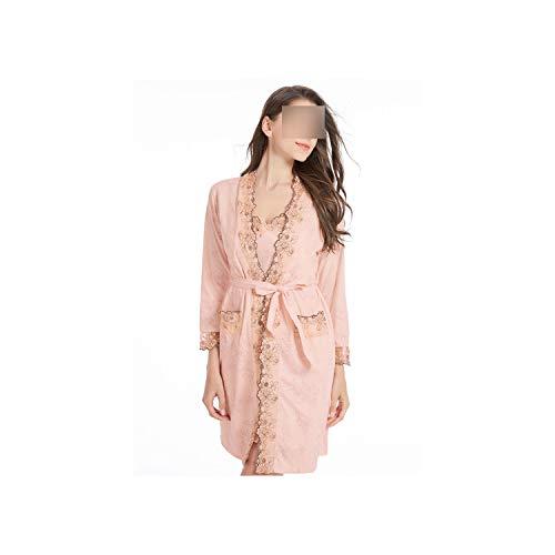Woman Bathrobe Full Cotton Plus Size Nightgowns Set Embroidered Floral Sleepshirts,Shrimp,XXL