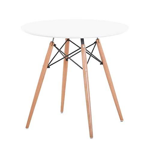 Milani Home s.r.l.s. Tavolo da Pranzo Moderno di Design Rotondo Piano in ABS Bianco Diametro 80 con...