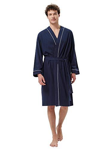 SIORO Bata de algodón para hombre, ligera, suave, hasta la rodilla, batas de baño para spa y casa, M-XXL, Azul marino/flor y brillo,...