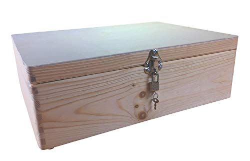 MidaCreativ abschließbare Aufbewahrungsbox, Holzkiste ohne Grifflöcher Kiefer Gr. 2 (Schloss 2-Silber)