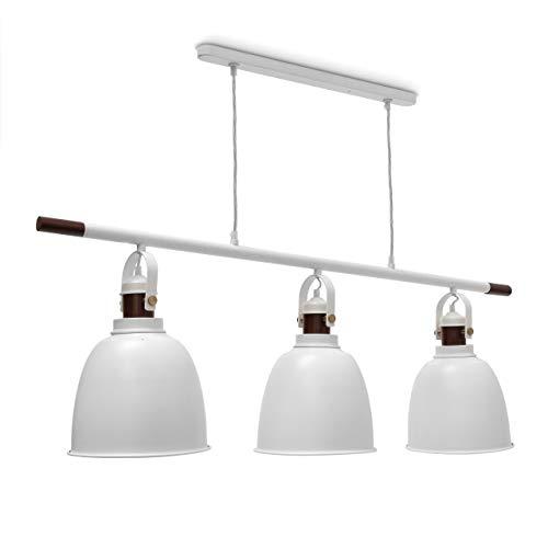 Relaxdays Pendelleuchte Glocca 3-flammig HBT: 116 x 116 x 24 cm Deckenleuchte höhenverstellbar aus Metall und Holz für zwei Leuchten Hängelampe in Glocken-Form als Deko-Element, weiß