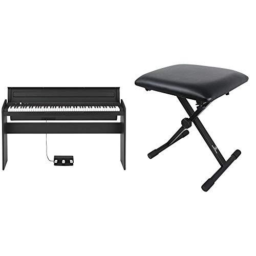 【セット買い】KORG 電子ピアノ LP-180-BK 88鍵 ブラック ペダル、譜面立て付属 アコースティック・ピアノタッチを再現したNH鍵盤 & Dicon Audio SB-001 Keyboard Bench キーボードベンチ ピアノ椅子 ブラック