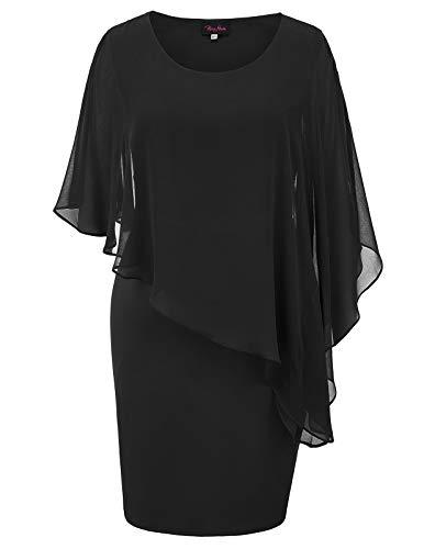 Hanna Nikole Womens Plus Size Chiffon Poncho Slit Sleeve Pencil Overlay Mini Dress Black 16W