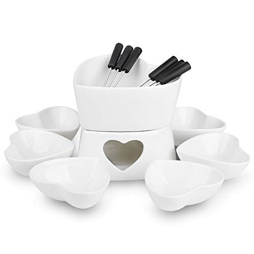 [Bigger Size and Improved] Zen Kitchen Fondue Pot Set, Glazed Ceramic Fondue Set for Chocolate...