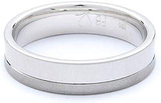 Breuning 18K White & Black Shiny & Brushed Finish 0.053ct Round cut Diamond Wedding Ring [BR6306]