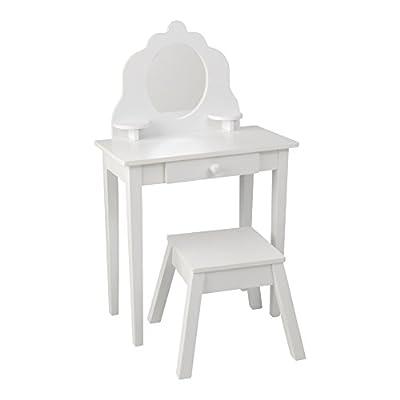 KidKraft Medium Wooden Vanity & Stool - White, Children's Furniture, Kid's Bedroom Storage