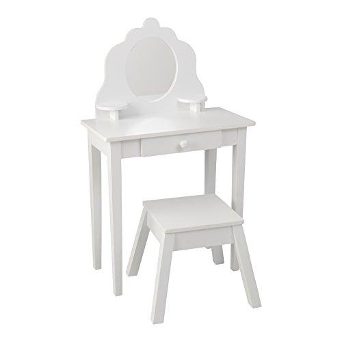 KidKraft Mittelgroßer Hocker Holz-Frisiertisch und Stuhl mit Spiegel, MDF, Weiß