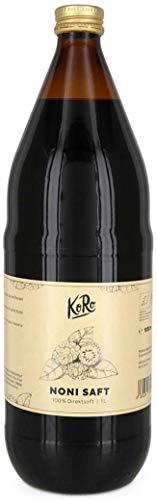 KoRo - Bio Noni Saft 1 Liter - 100 % Direktsaft aus der Noni Frucht in der Glasflasche - Naturbelassen ohne Zusatz von Zucker