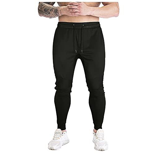 Binggong Pantalones de chándal para hombre, de corte regular, de deporte, para correr, para hacer deporte, con goma elástica, cómodos pantalones largos de tela para correr o para estar al aire libre.