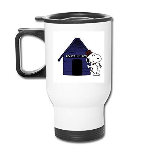 Dr Who Snoopy Tardis Hundehütte, Edelstahl, doppelwandig, Vakuum-Kaffeebecher mit spritzwassergeschütztem Deckel für heiße und kalte Getränke